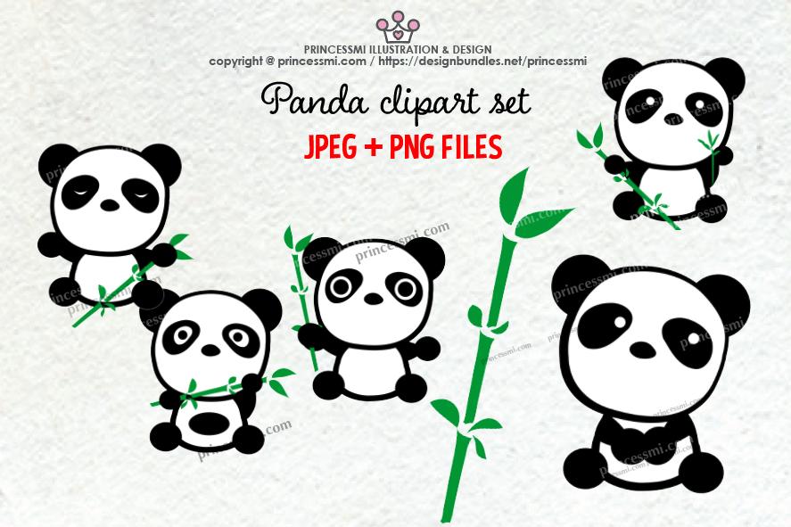 Cute panda clipart set example image 1