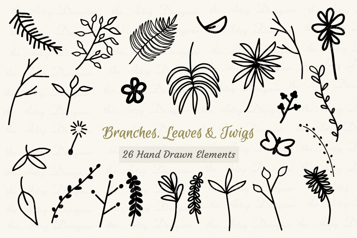 26 Digital Stamps Leaves Branches Twigs Clipart Digi Bundle example image 1