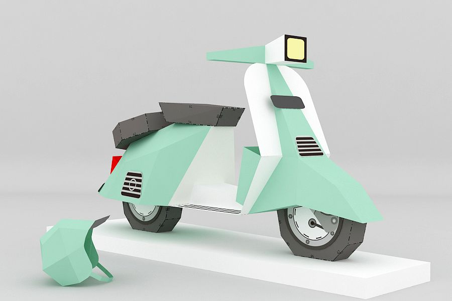 DIY Paper Scooter - 3d papercraft example image 1