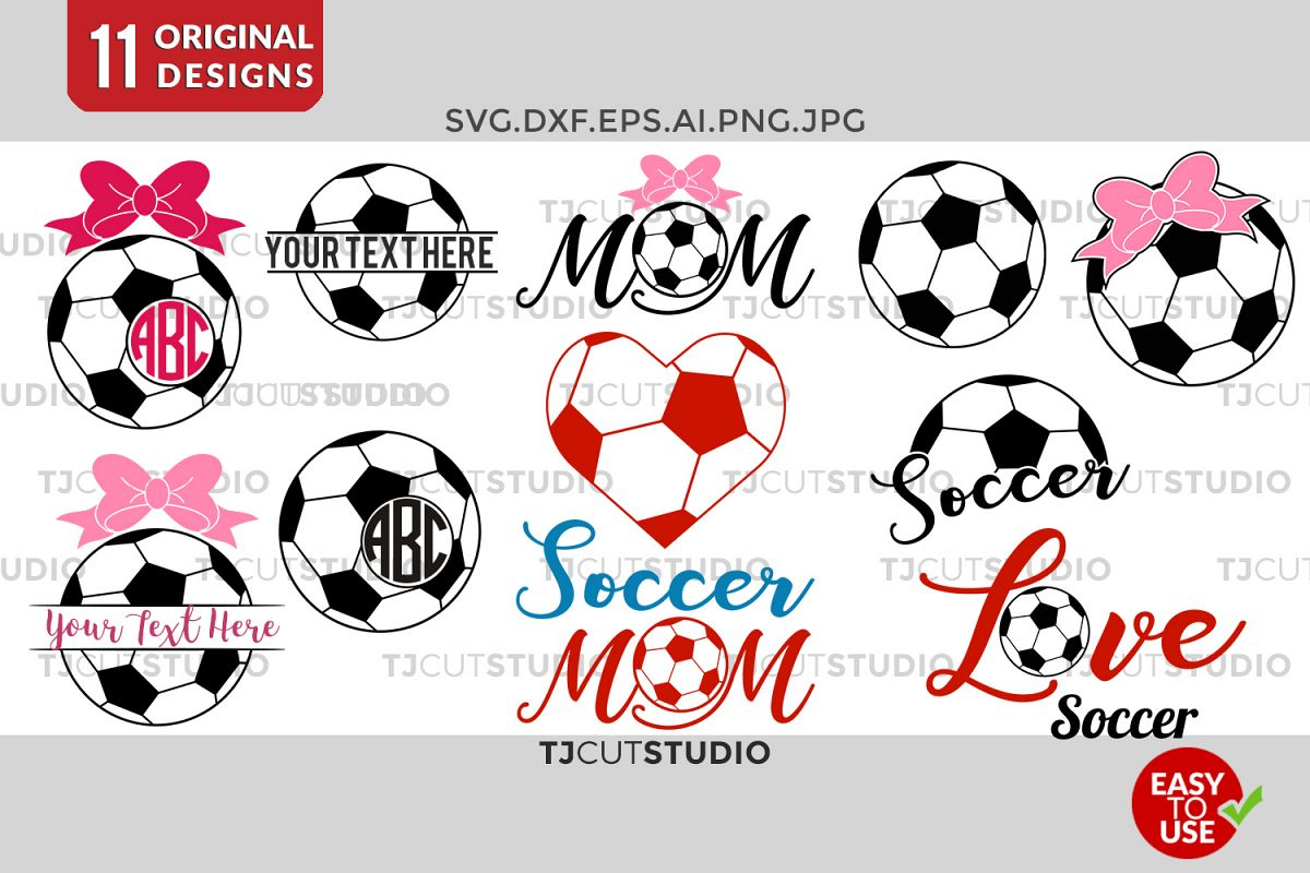 Soccer Monogram svg, Soccer SVG, Soccer Mom SVG, Bow Monogram SVG, love soccer, for Silhouette Cameo or Cricut Commercial & Personal Use. example image 1