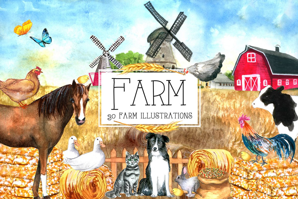 Watercolor FARM Clipart example image 1