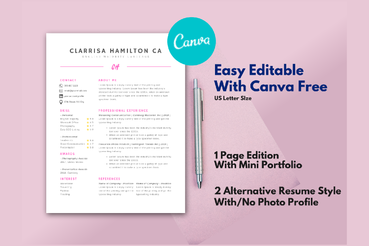 4 Sheets Canva Resume and CV Template Modern Professional example image 1