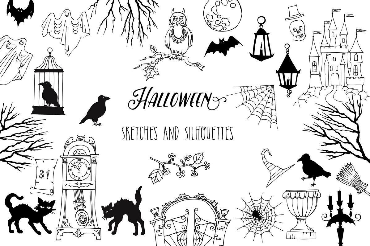 Halloween. Sketches and Silhouettes example image 1