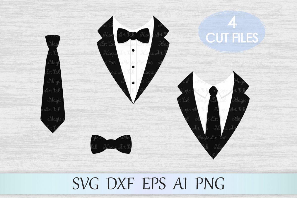 Tuxedo svg, Tuxedo clipart, Suit svg, Suit svg file, Butterfly tie svg, Bow svg, Gentleman svg, Gentleman design, Tie cut file example image 1