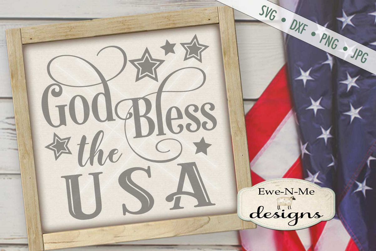 God Bless The USA SVG DXF Files example image 1