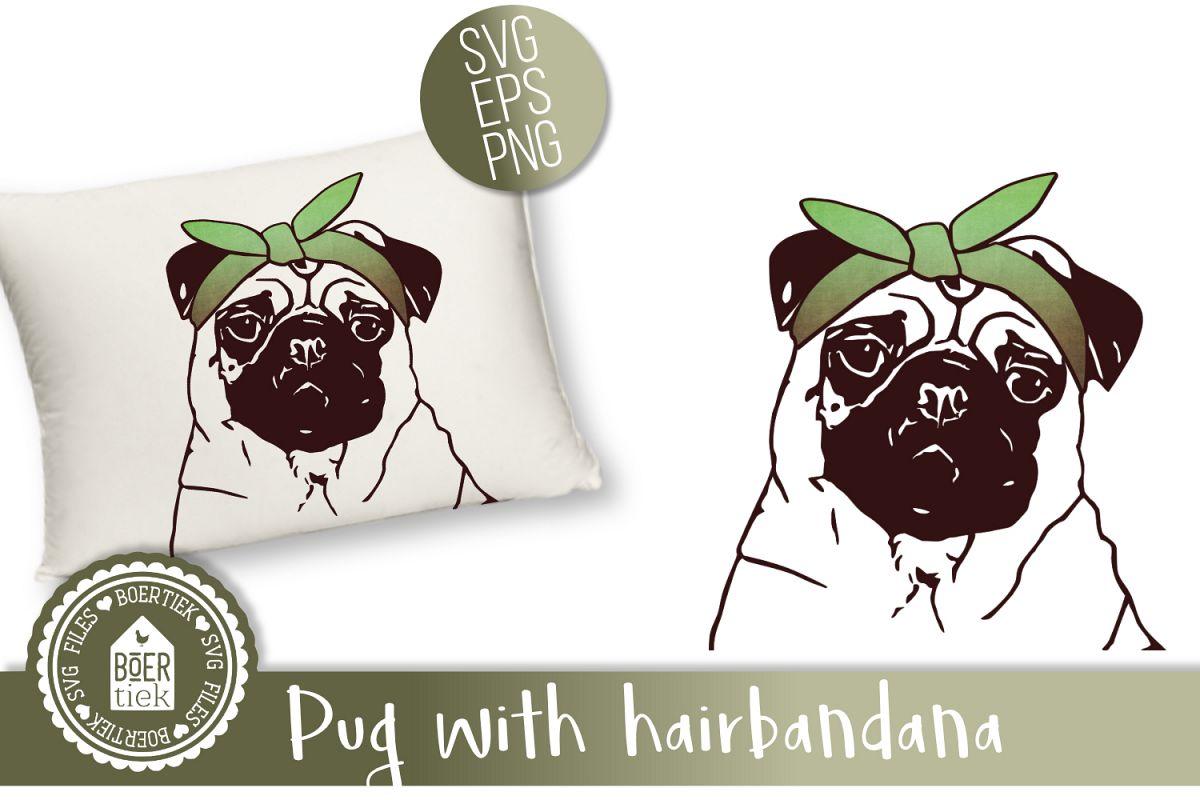 Pug with hairbandana, cutting file example image 1