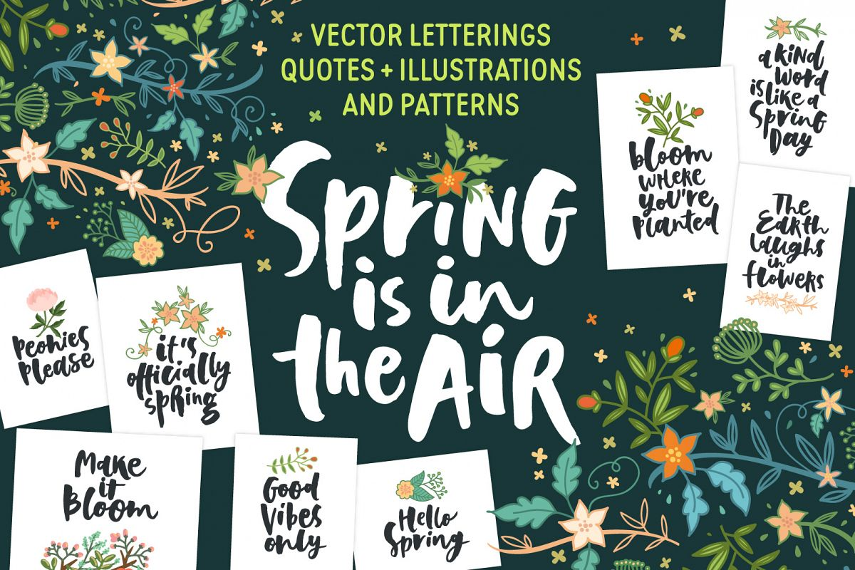 Spring! Letterings+graphics+patterns example image 1