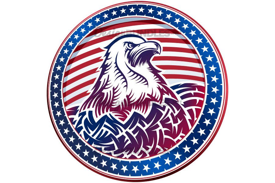 Vector American Bald Eagle USA Natioal Symbol Fourth July Emblem Head example image 1
