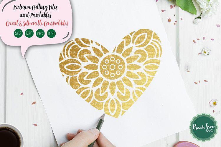Heart Mandala SVG, Heart Svg, Floral Heart Svg, Love Svg example image 1