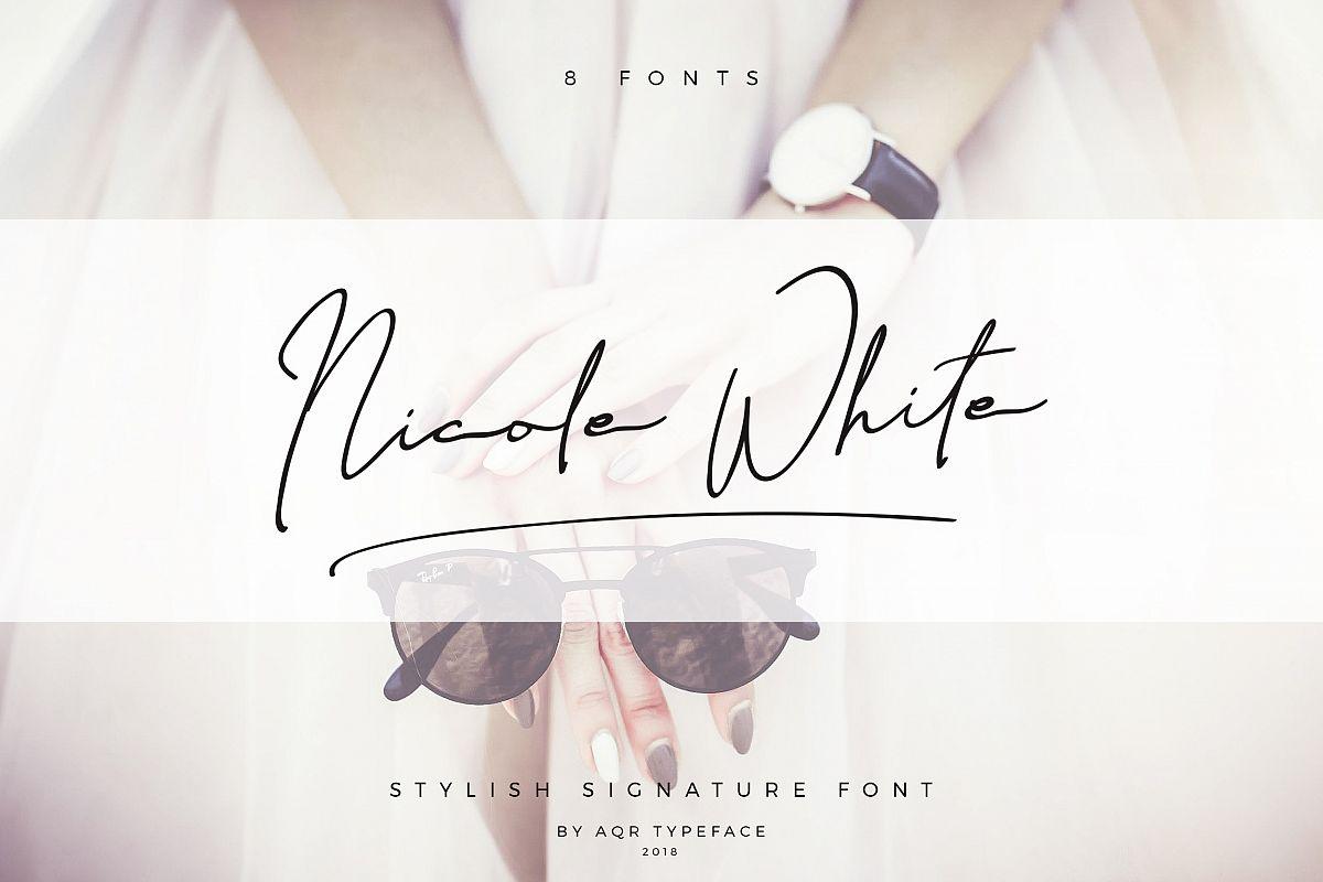 NicoleWhite Signature Font -Big Update - example image 1