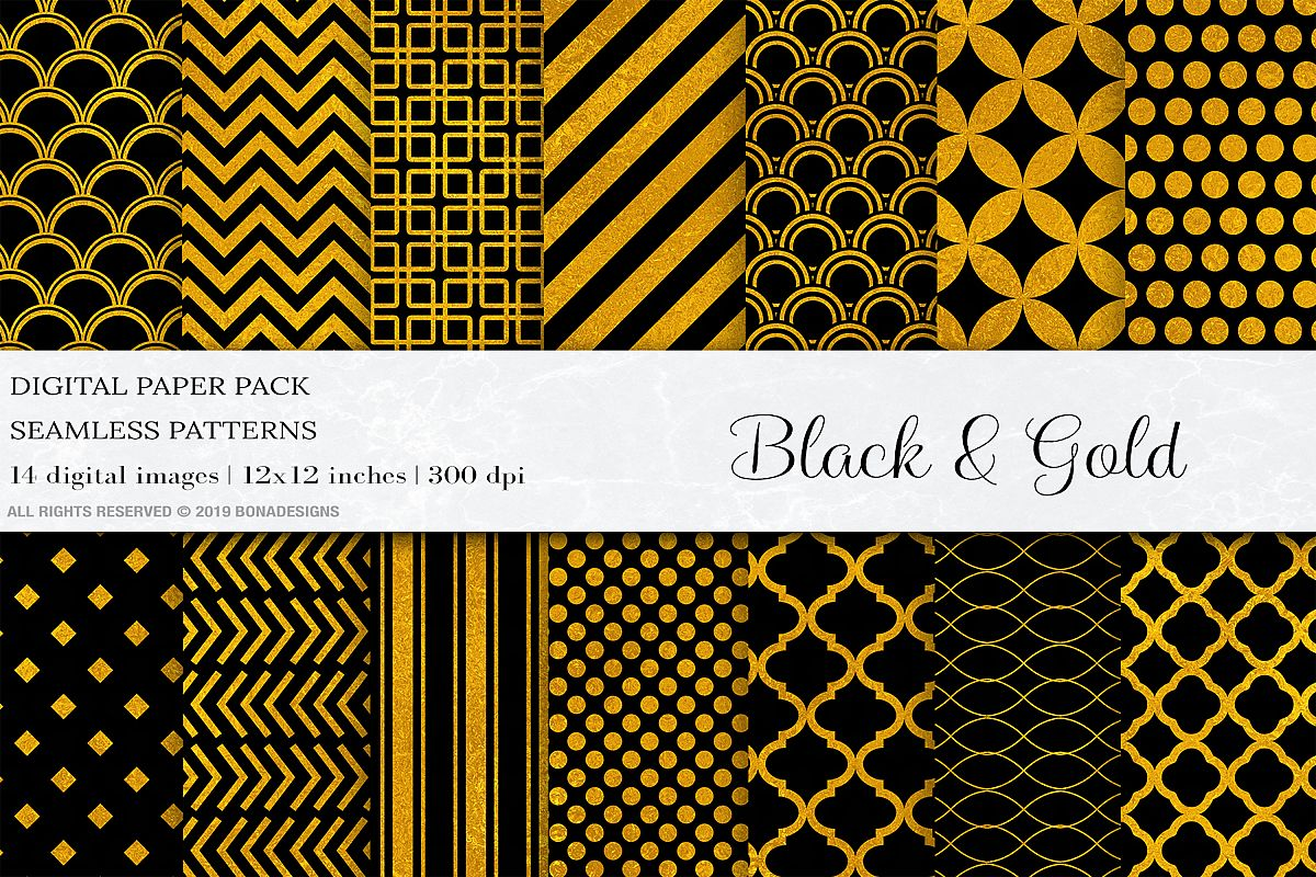 Black Gold Digital Papers, Gold Geometric Seamless Patterns example image 1