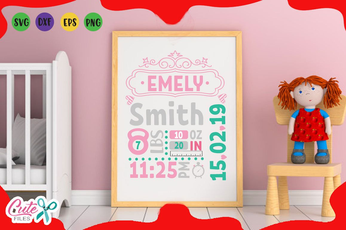 baby birth announcement template with hearts for girls example image 1