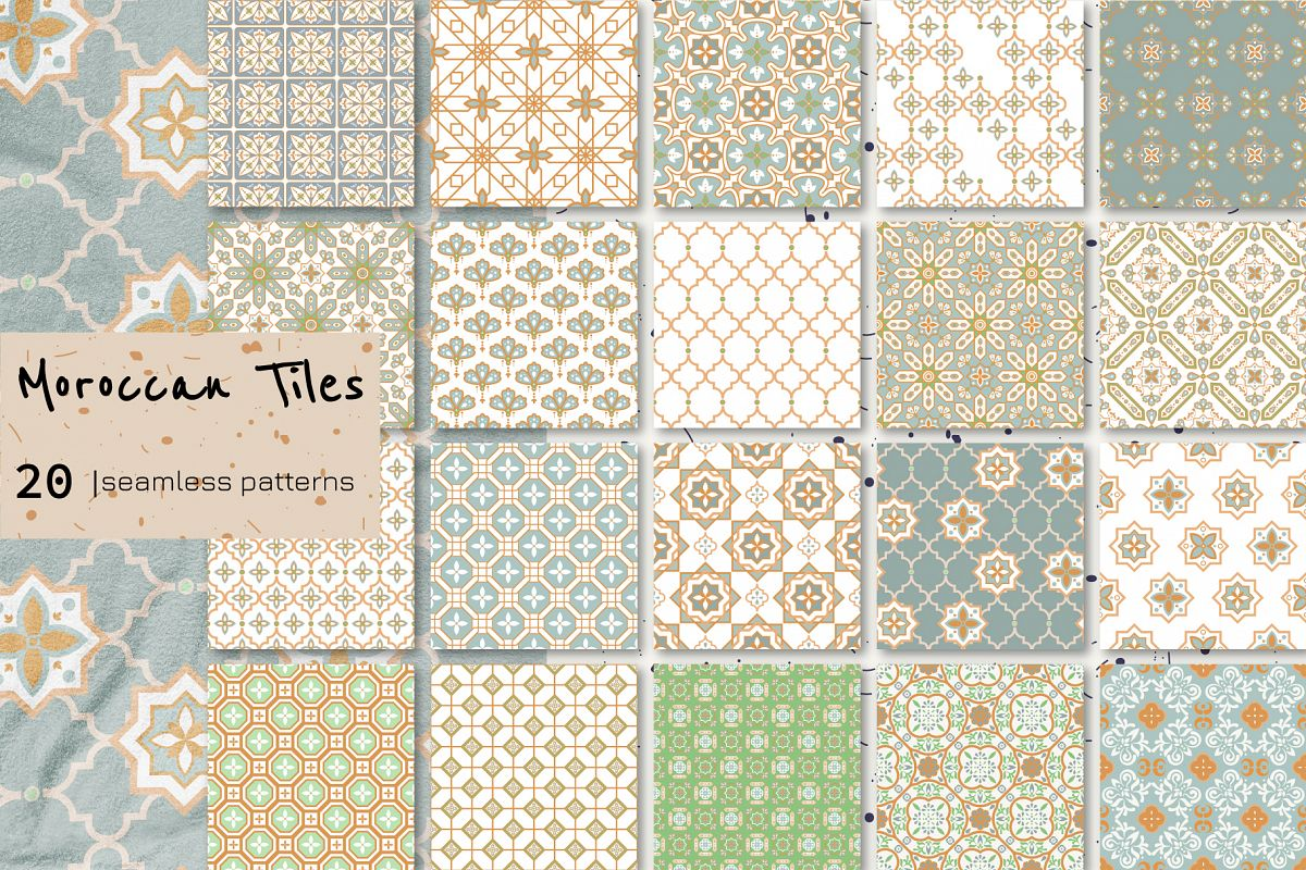 Moroccan Tiles - 20 patterns example image 1