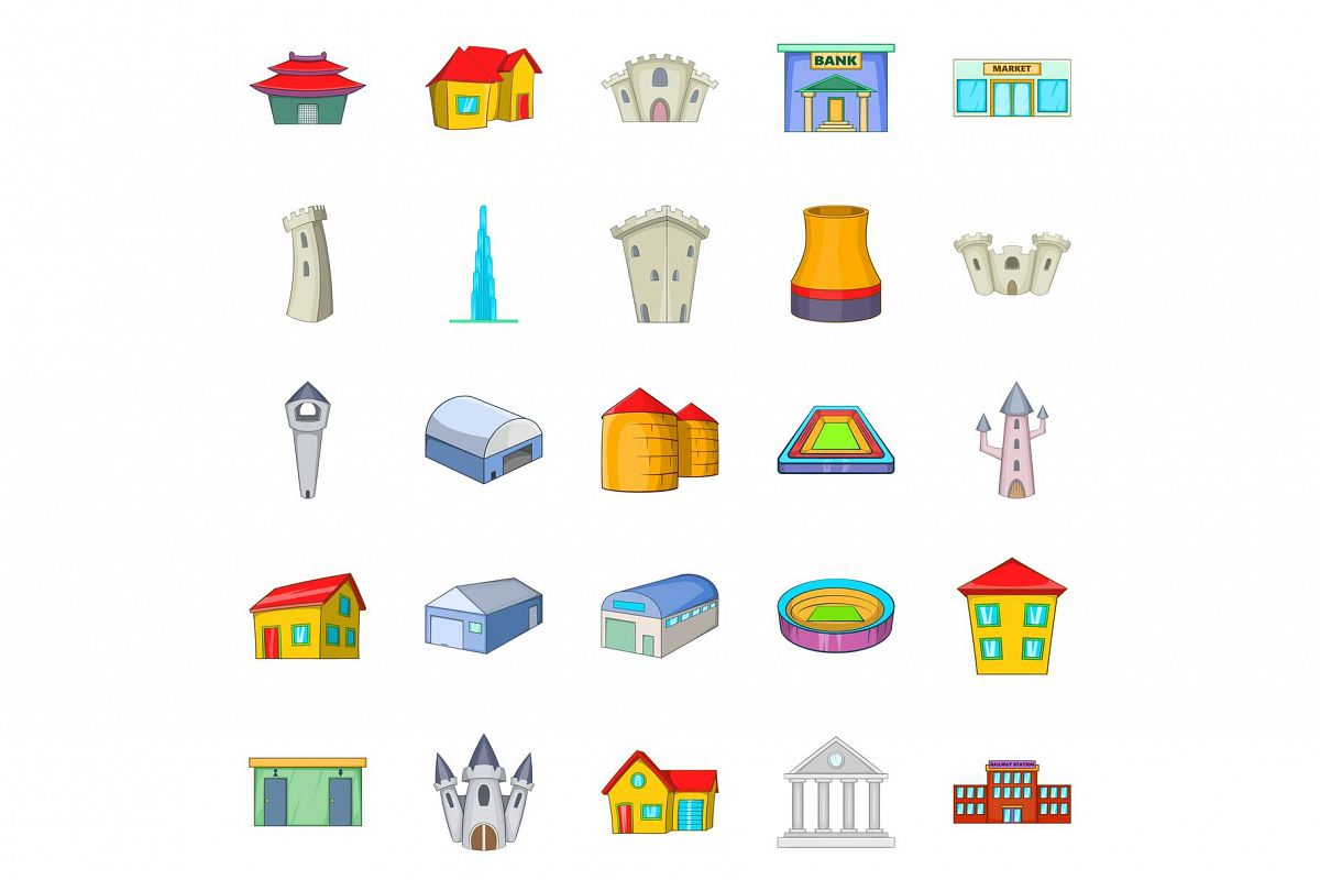 Formation icons set, cartoon style example image 1