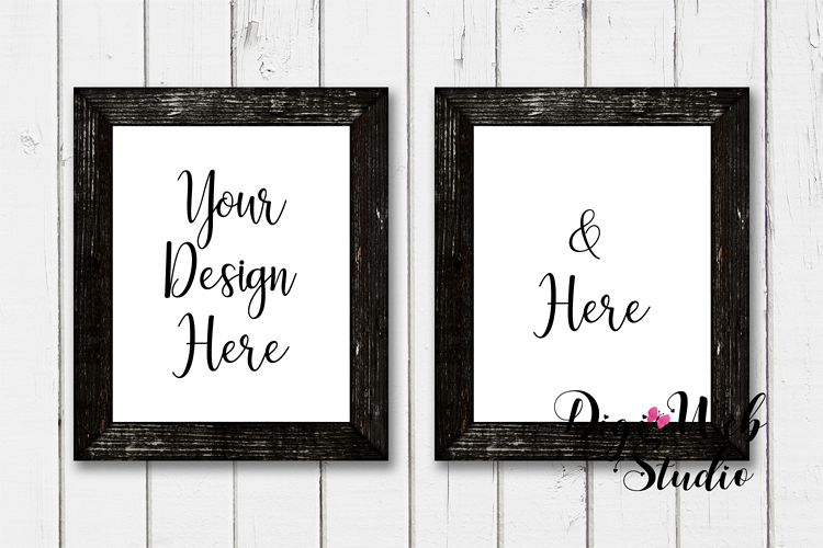 2 Wood Signs Mockup - 2 Black Frames on Rustic Shiplap example image 1