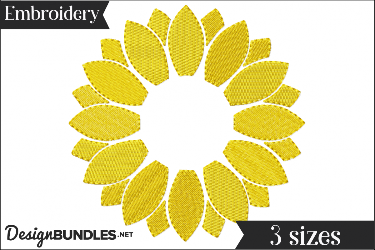 Sunflower Monogram Frame Embroidery Design example image 1