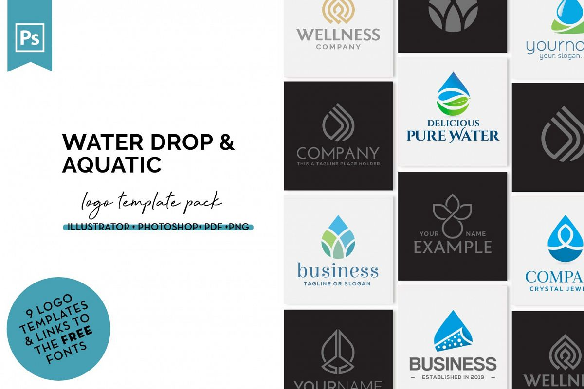Water Drop & Aquatic Logo Design Set example image 1