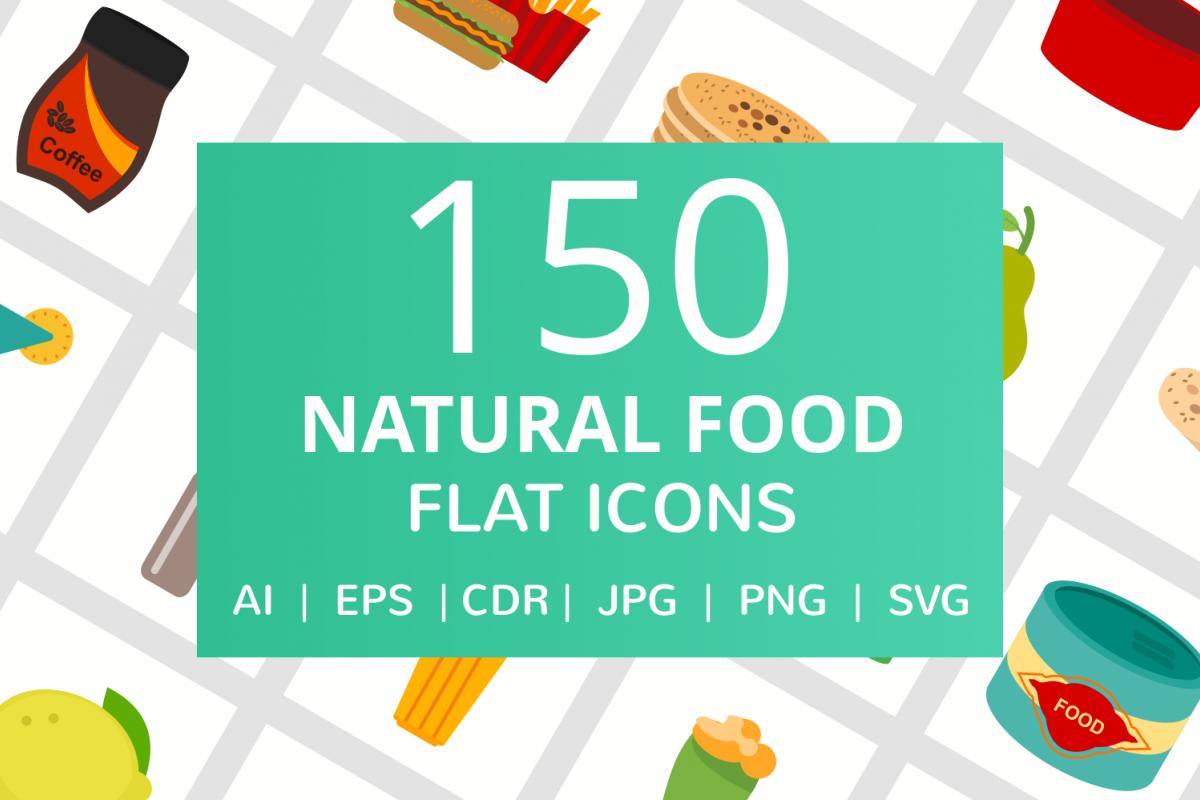 150 Natural Food Flat Icons example image 1
