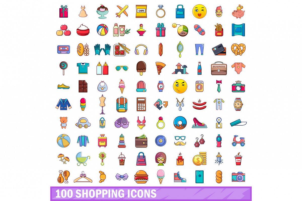 100 shopping icons set, cartoon style example image 1