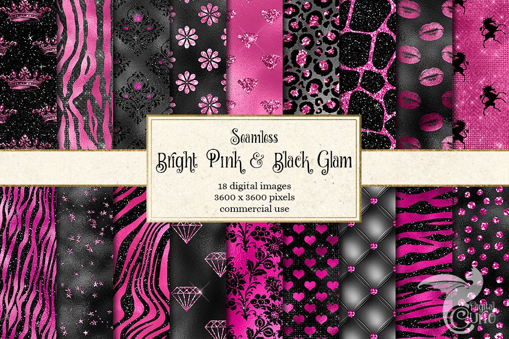 Bright Pink and Black Glam Textures example image 1