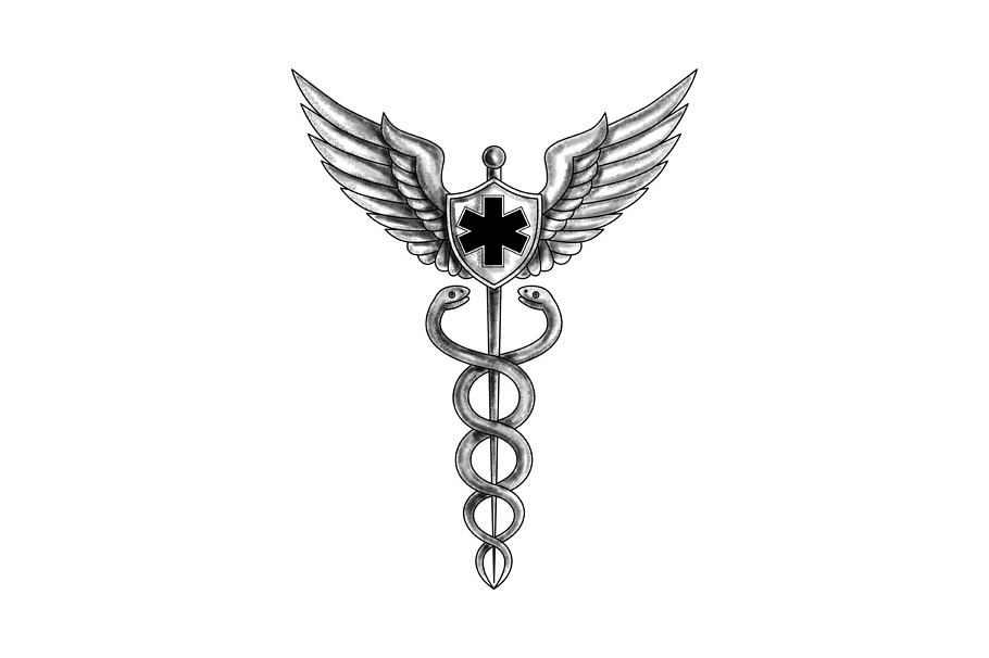 Caduceus Pilot Wings EMT Star Tattoo example image 1