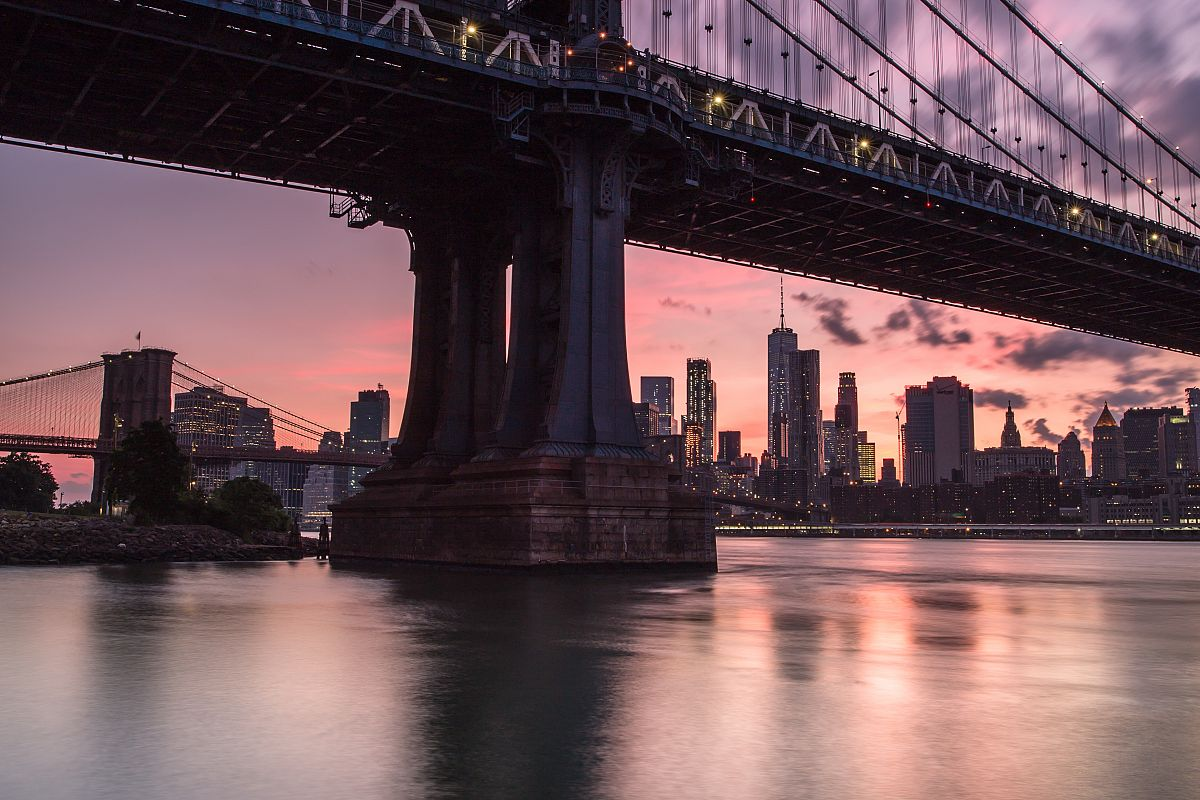 Manhattan bridge during sunset view from the rocks example image 1