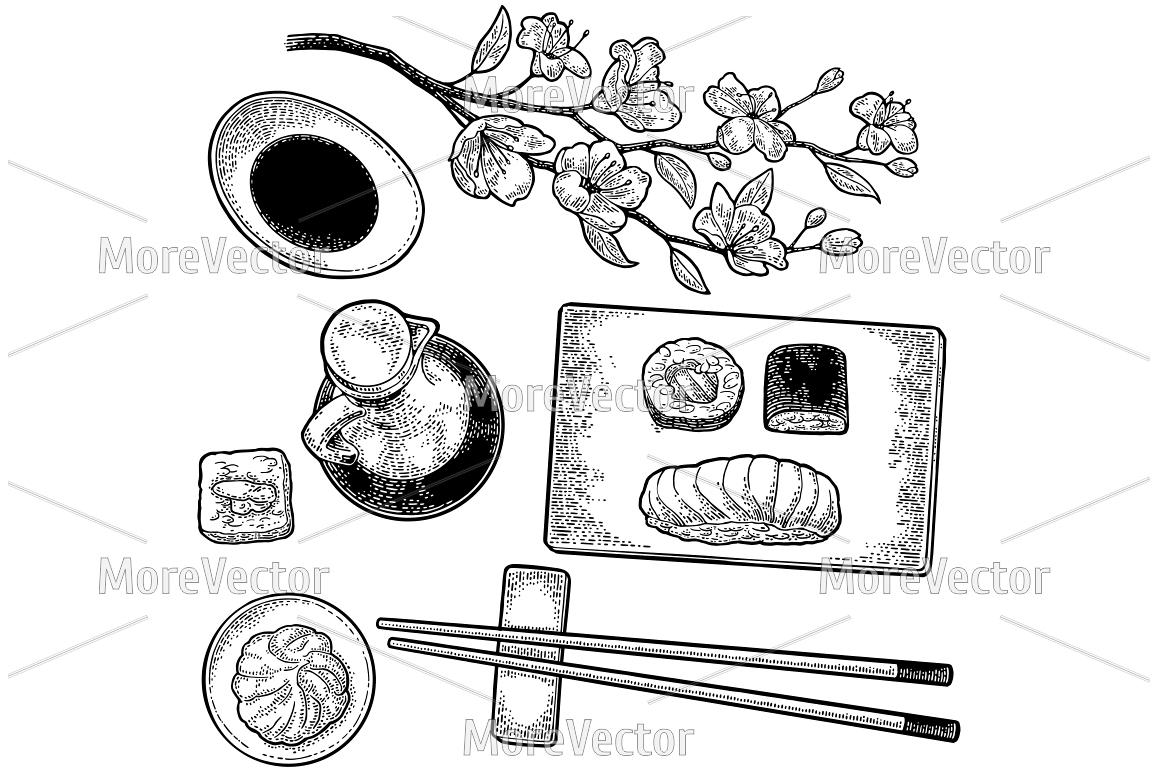 Set Sushi.Vintage black vector engraving example image 1