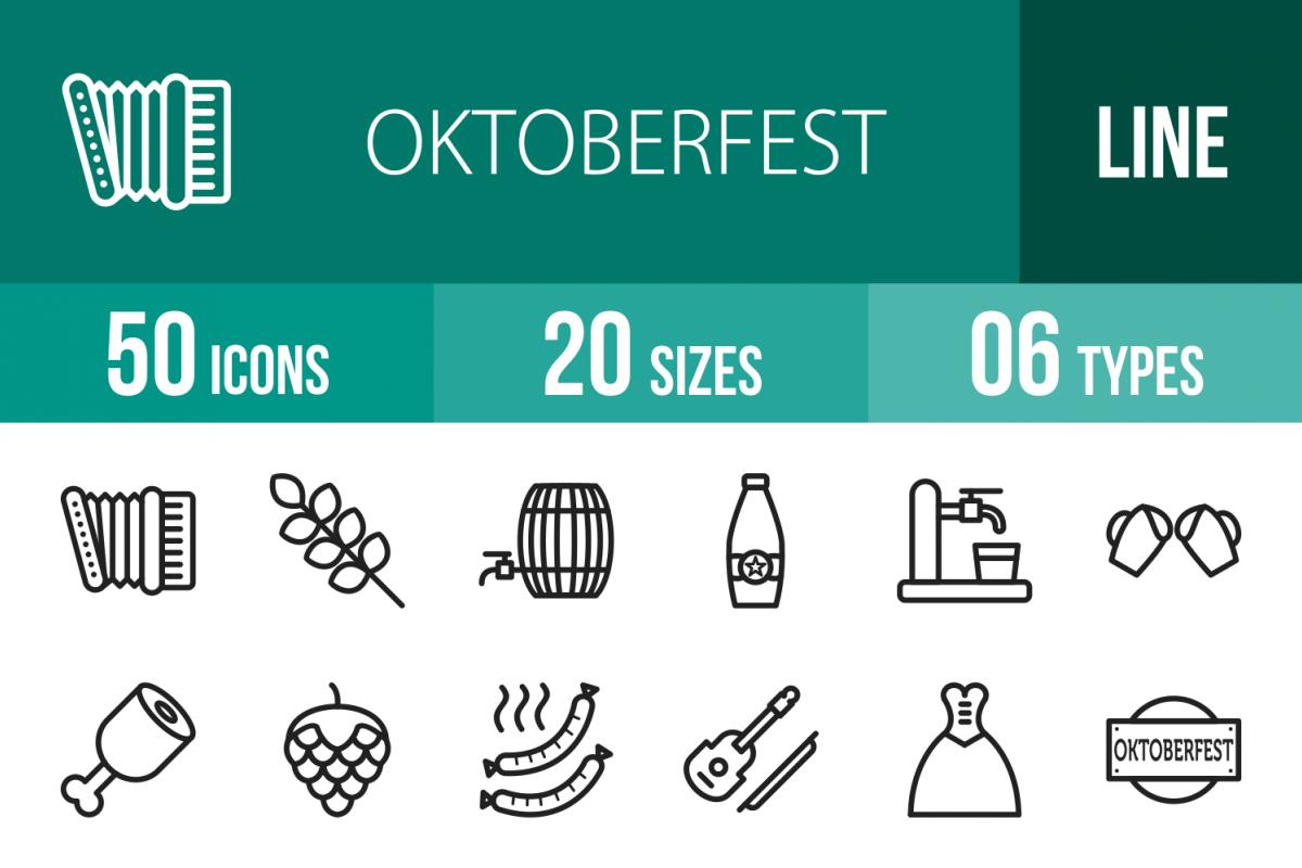 50 Oktoberfest Line Icons example image 1