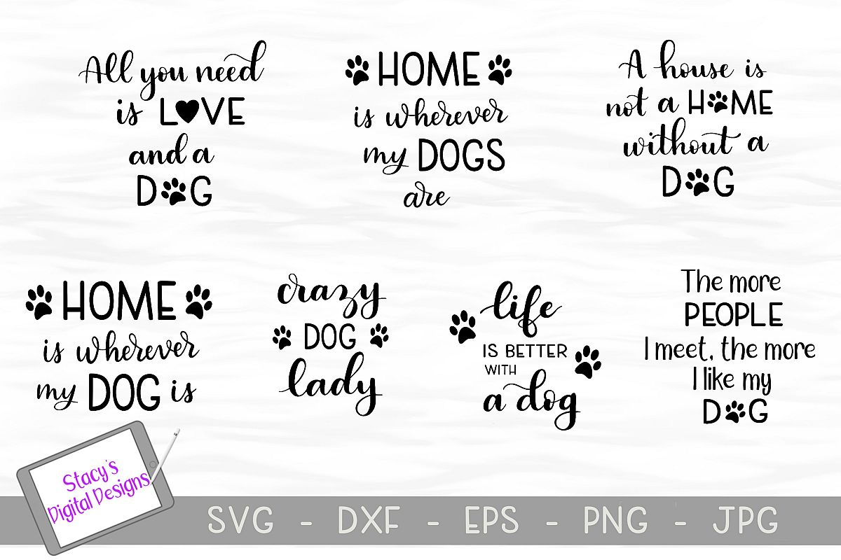 Dog SVG Bundle - includes 7 dog SVG files example image 1