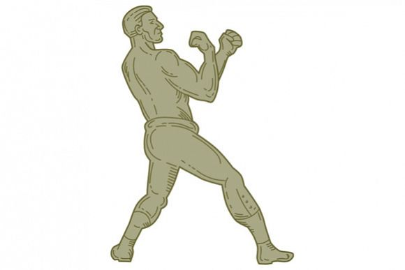 Vintage Boxer Fighting Stance Mono Line example image 1