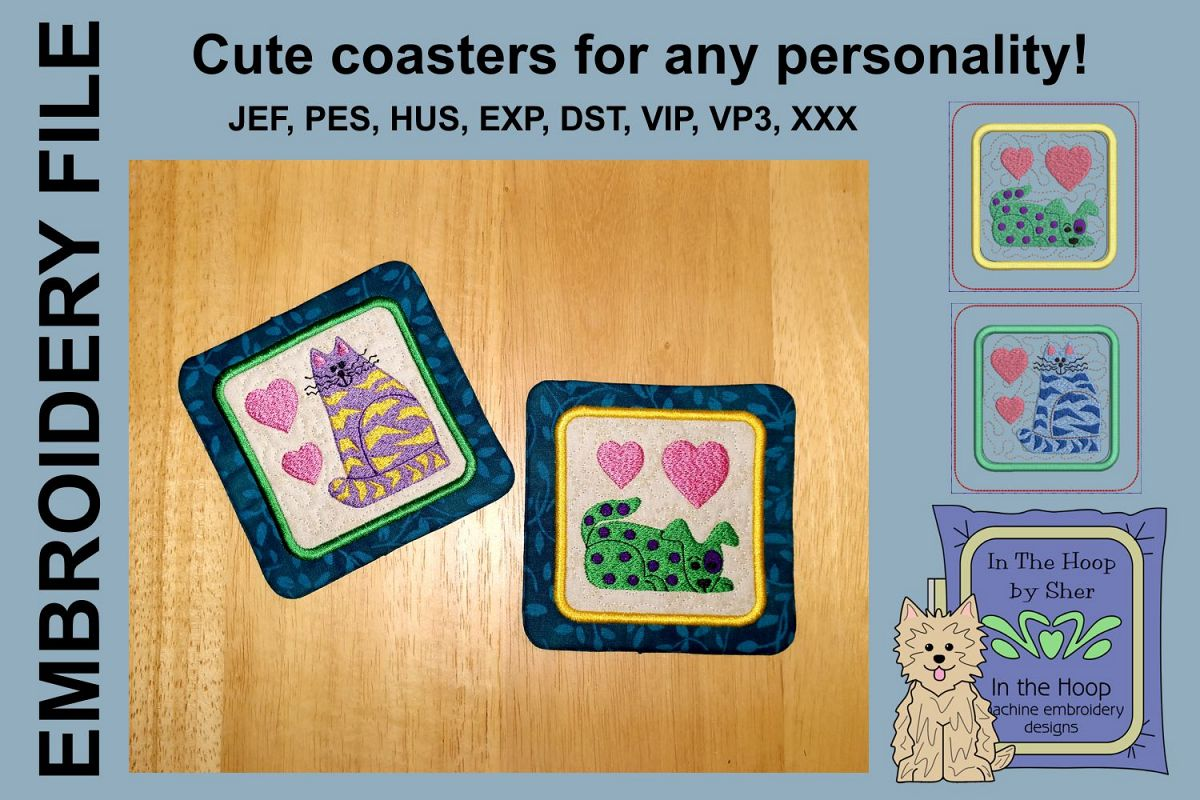 Funky Cat & Dog Coasters - 4 x 4 and 5 x 7 Hoops example image 1