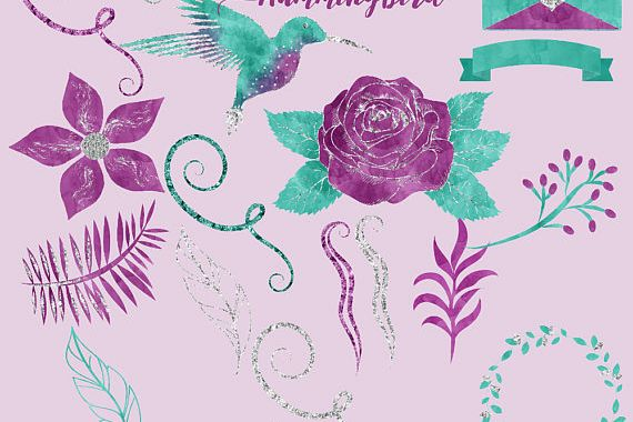Hummingbird watercolor clipart example image 1