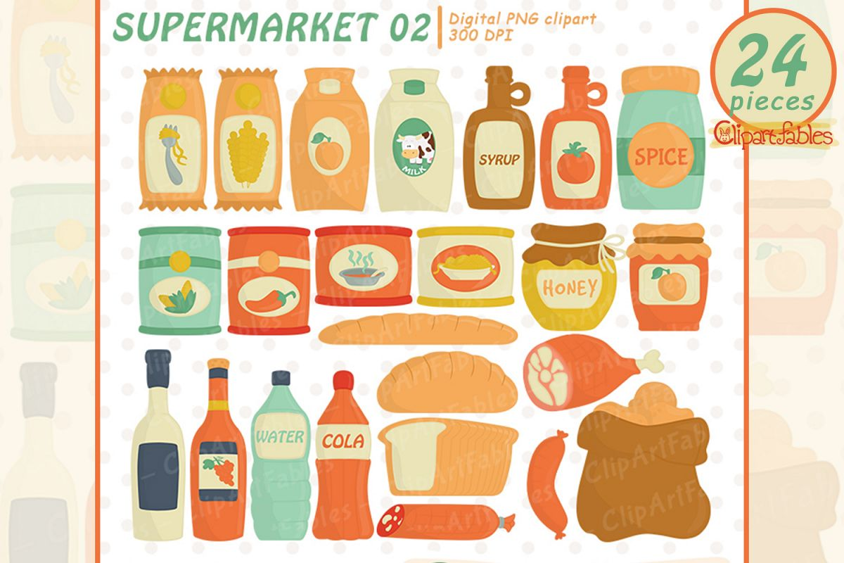 Cute SHOP clipart, Grocery clipart, Foods - INSTANT download example image 1