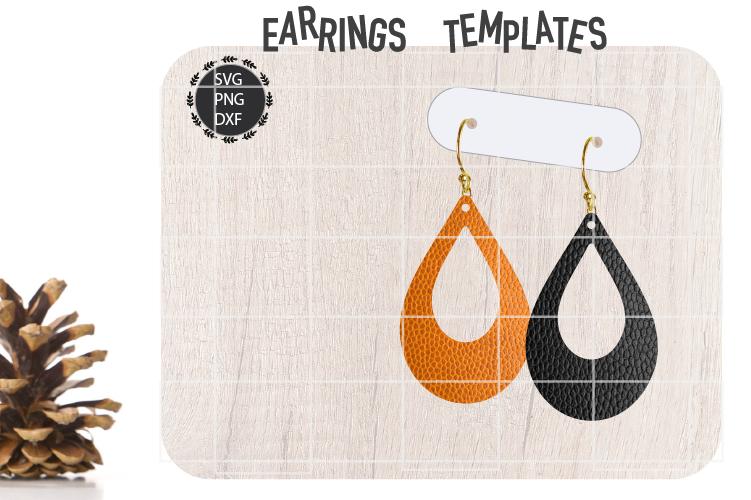 Teardrop Earrings Svg, Earrings Svg, Wooden, Leather, Laser example image 1