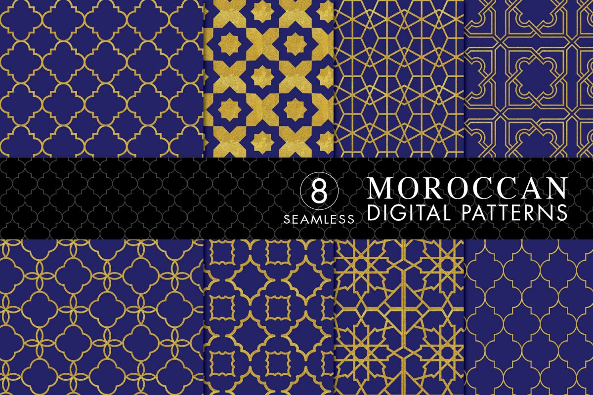 8 Seamless Moroccan Patterns - Gold & Cobalt Blue Set 2 example image 1