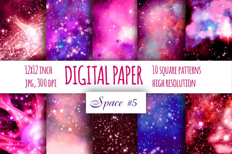Red galaxy digital paper. Starry sky example image 1