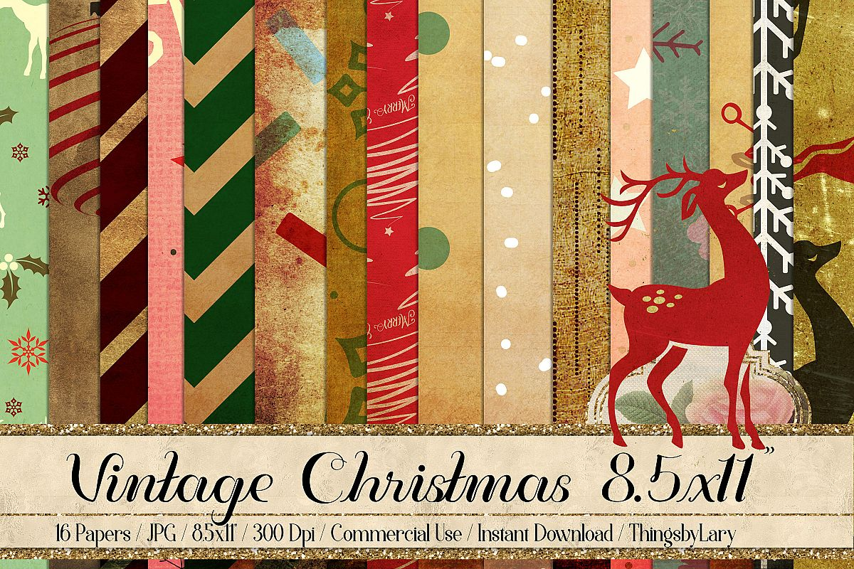 16 Vintage Winter Holiday Christmas Digital Papers 8.5x11 example image 1