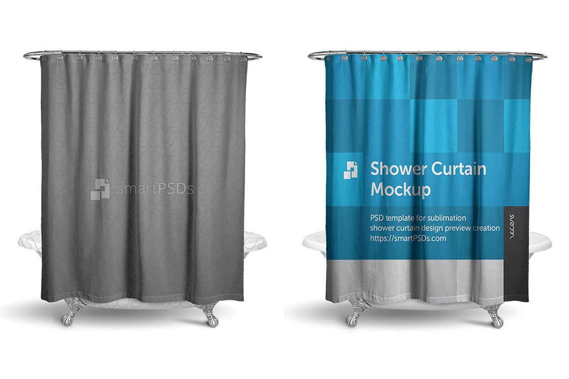 Shower Curtain Mockup for Sublimation Preview Design example image 1