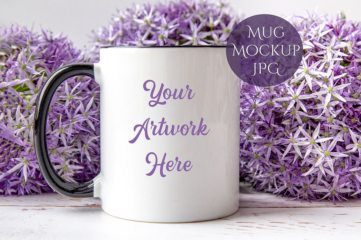 Black Handled Mug Mockup- example image 1