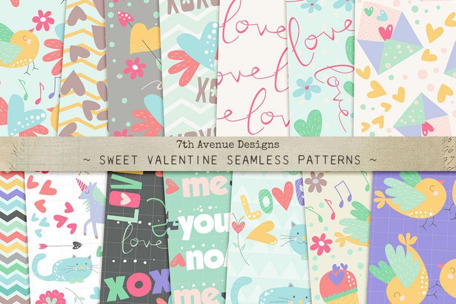 Sweet Valentine Seamless Patterns example image 1
