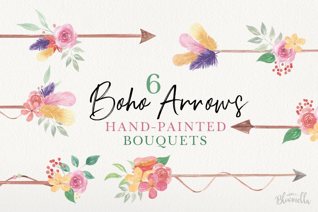 Boho Arrows Watercolor Floral Pink Flowers Blooming Leaves example image 1