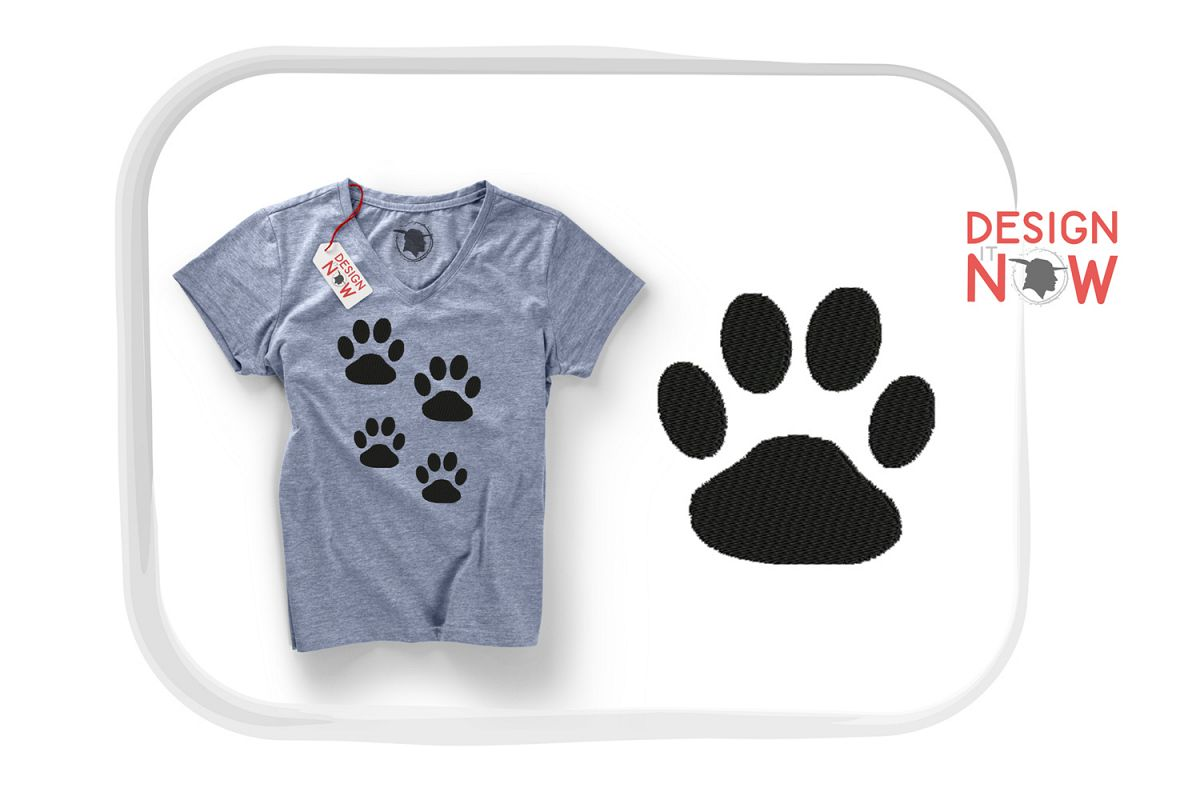 Paw Embroidery Design, Cat Dog Embroidery Pattern example image 1