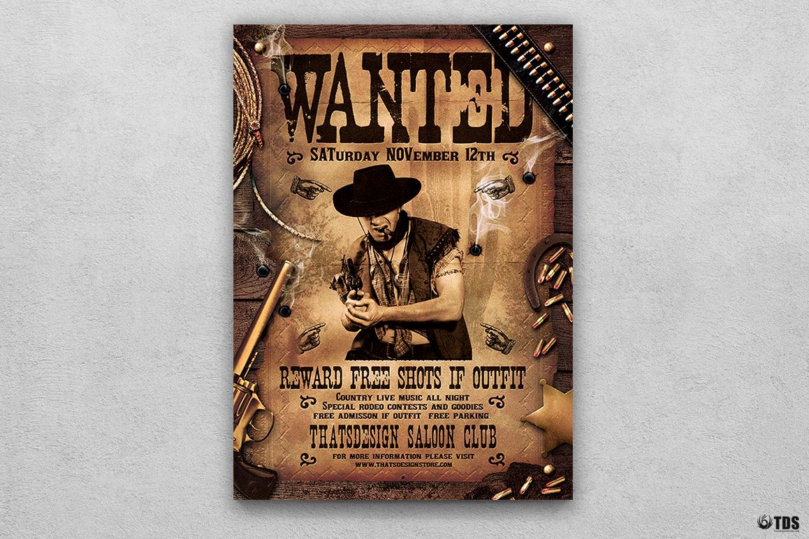 Wanted Western Party Flyer Template example image 1