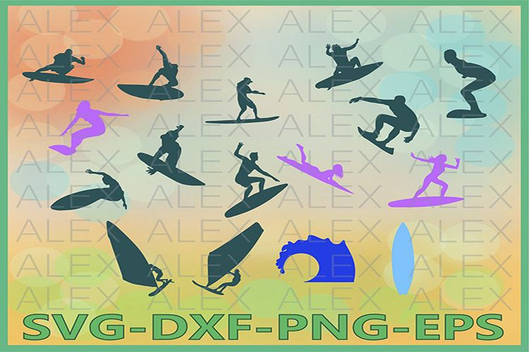 Surfing Svg, Surfing png, eps, svg, dxf, Surfing Clipart example image 1