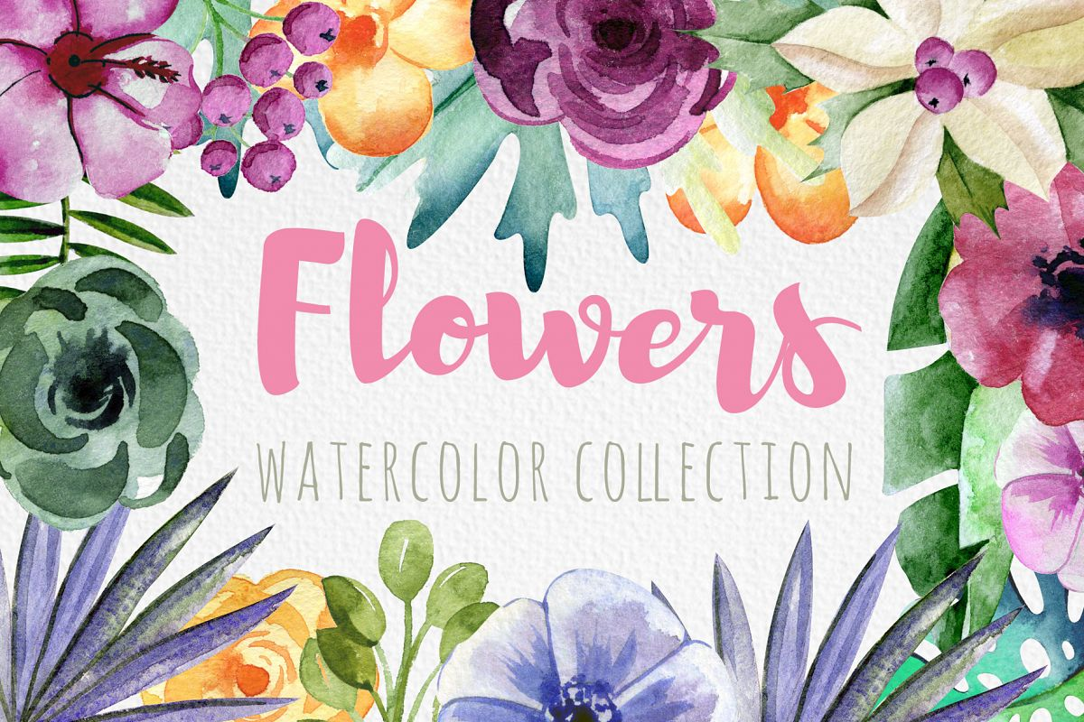 Watercolor flowers example image 1