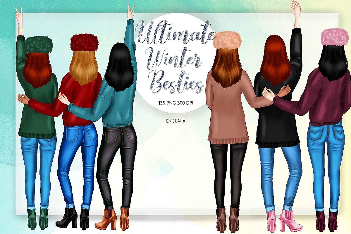 Best Friends Clipart Besties Clipart Winter Besties Clipart example image 1