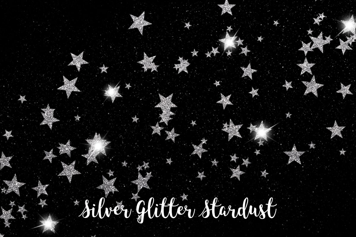 Silver Glitter Stardust, Transparent PNG example image 1