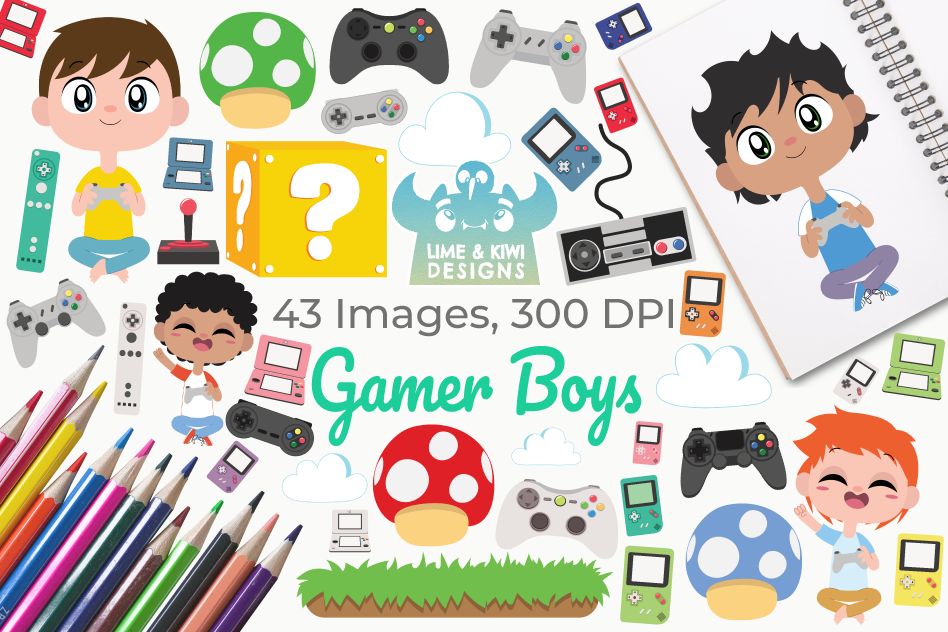 Gamer Boys Clipart, Instant Download Vector Art example image 1