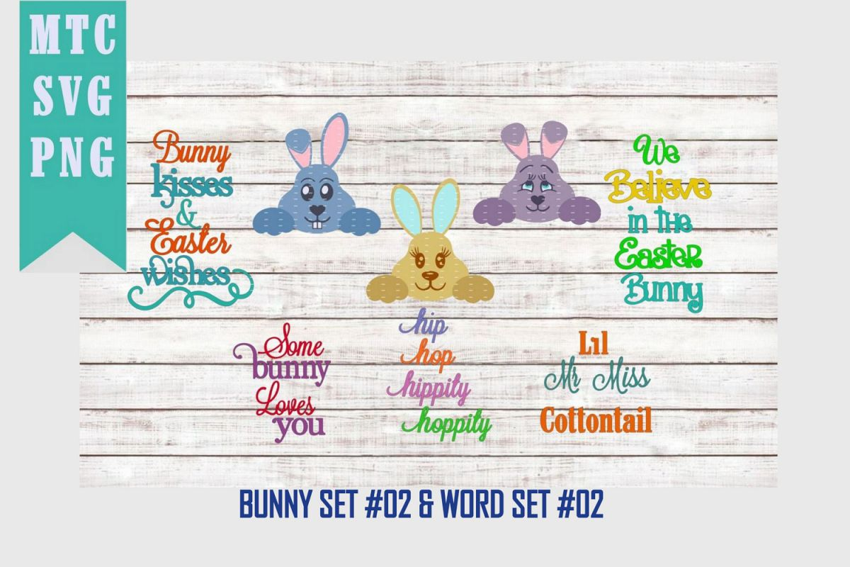 Peeping Easter Bunny Set #2 with Sayings Set #2 SVG Cut File example image 1