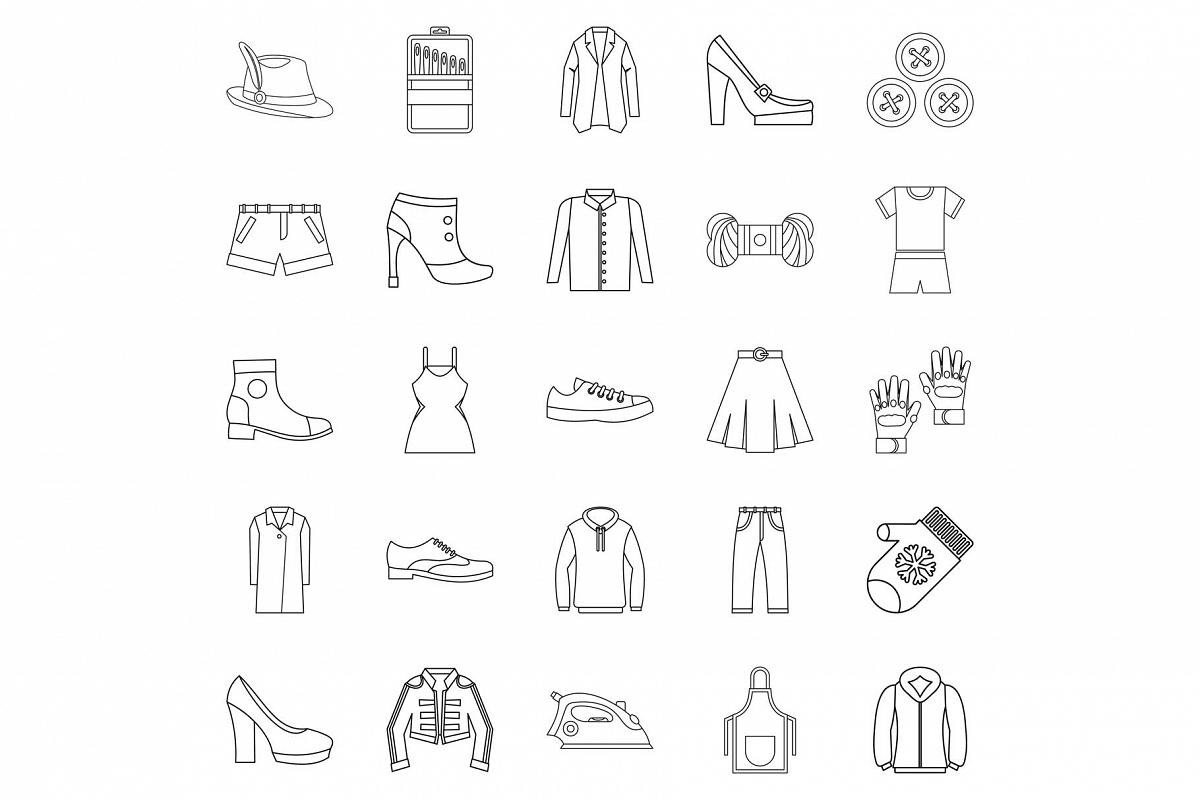 Sewing of footwear icons set, outline style example image 1